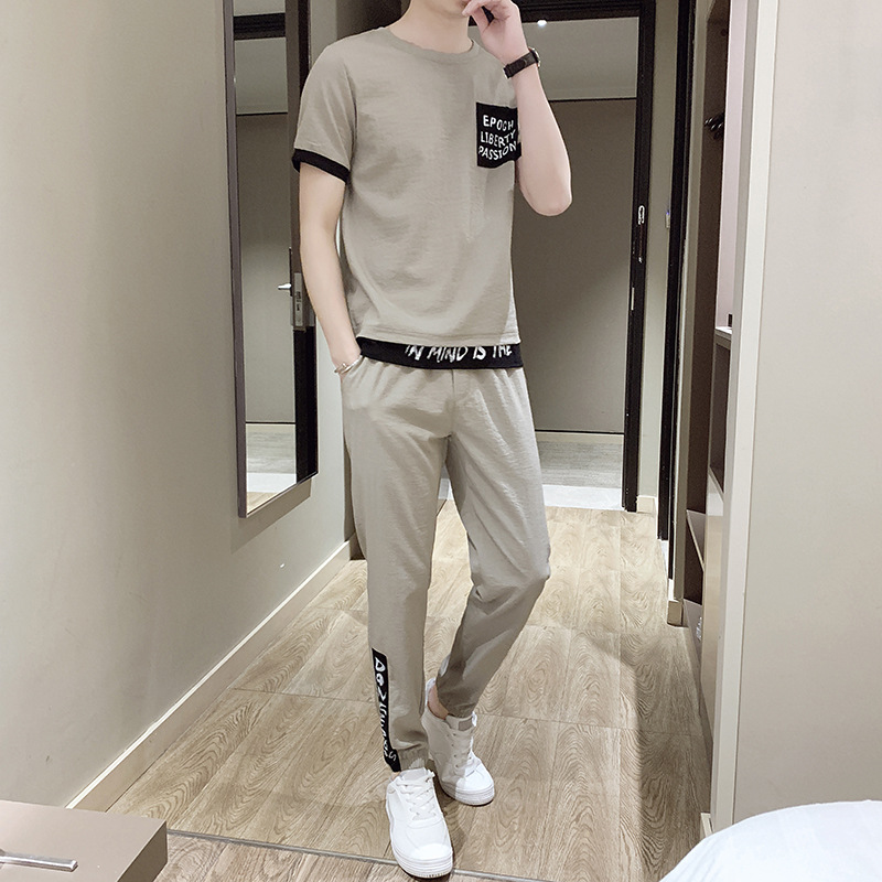 Men's Viscose Leisure Suit Trousers Korean-style Trend Fashion Cotton Linen Set Handsome Two-Piece Set Teenager Sports Clothing