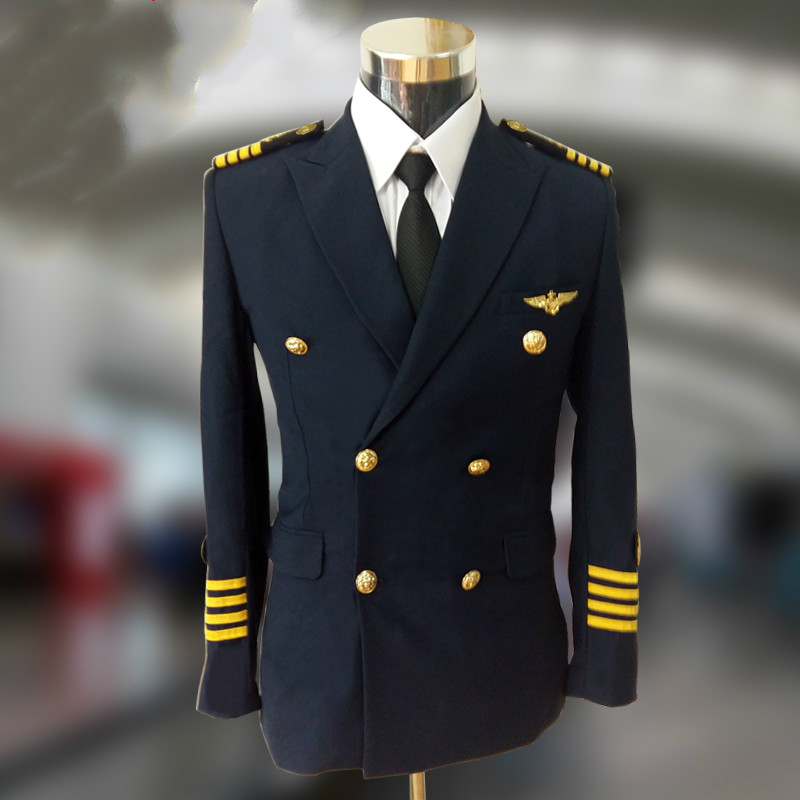 High Quality Popular Brand Mens Luxurious Blue Captain Uniform Men Pilot Slim Fit Double-Breasted Jacket With Epaulette Armband