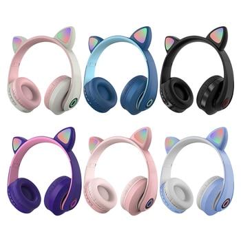Cat Ear Luminous Head-mounted Headphones Earphone Wireless Bluetooth Headset With Mic Hands-free Child Children's Gifts