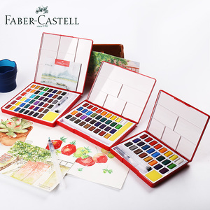 Image 2 - Faber Castell 24/36/48Color Watercolor Paint Set Professional Box With Paint Brush Portable Solid Pigment Painting Art Supplies