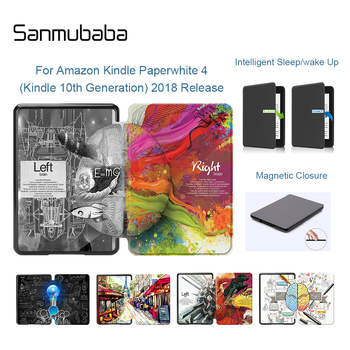 Sanmubaba Case For Amazon Kindle Paperwhite 4 10th Generation 2018 Released Cover Slim PU Leather Smart Cover Protective Shell adsorption protective pu leather case for amazon kindle paperwhite purple