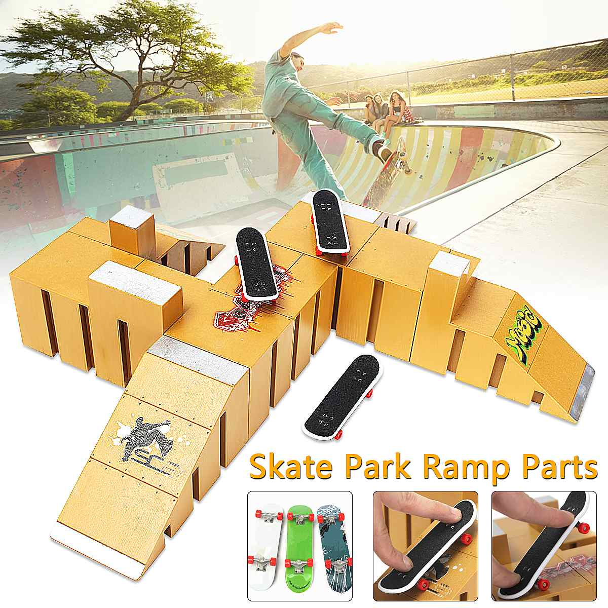 Skate Park Kit Ramp Parts For Tech Deck Fingerboard Excellent Gift For Extreme Sports Enthusiasts Sport Training 92D