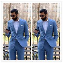 New Custom-made Light Blue 2 Pieces Men Suits (Jacket + Pants) Slim Fit Groom Prom Tuxedo Summer Style Blazer for Men(China)