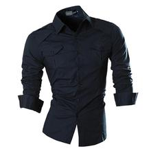 Jeansian Men's Fashion Dress Casual Shirts Button Down Long Sleeve Slim Fit Designer 8001 Navy цена