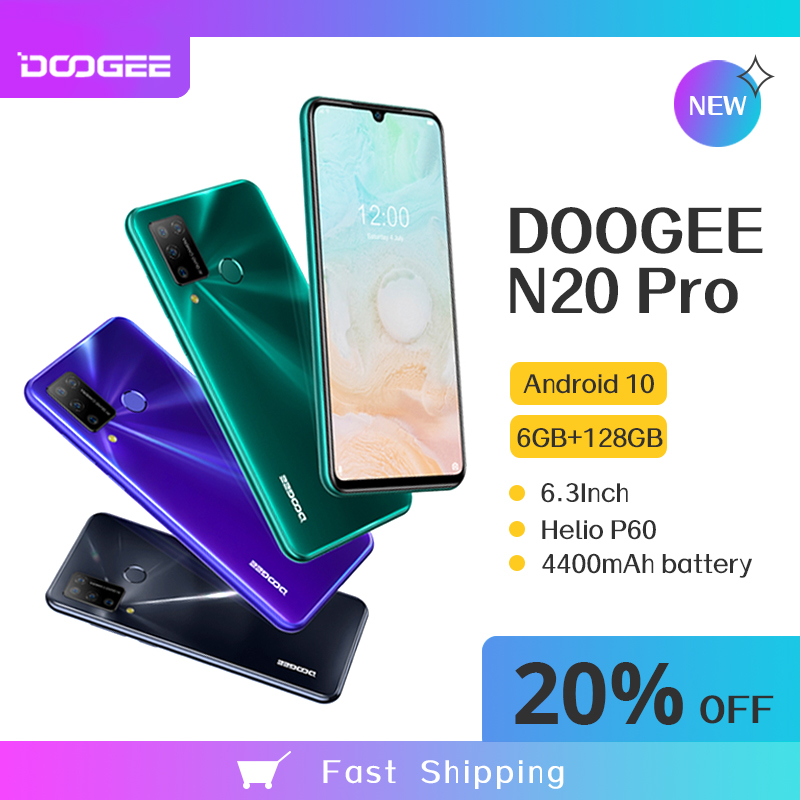 New DOOGEE N20 Pro 6GB 128GB Smartphone 16MP Quad Cameras Octa Core Android 10 Global Version 6.3