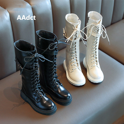 AAdct 2019 girls high boots winter cotton warm princess kids boots for girls fashion new liitle children shoes Brand leather