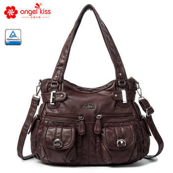 Angel Kiss Brand Skin-friendly Top Handle Satchel Shoulder Bag Washed PU Leather Tote Handbag Women Wallet Purse - DISCOUNT ITEM  53% OFF All Category