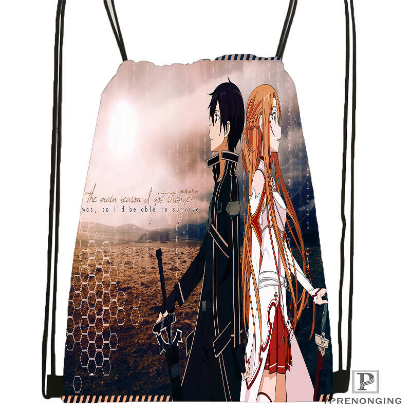 Custom Kirito-sword-art @2Drawstring Backpack Bag For Man Woman Cute Daypack Kids Satchel (Black Back) 31x40cm#20180611-03-151