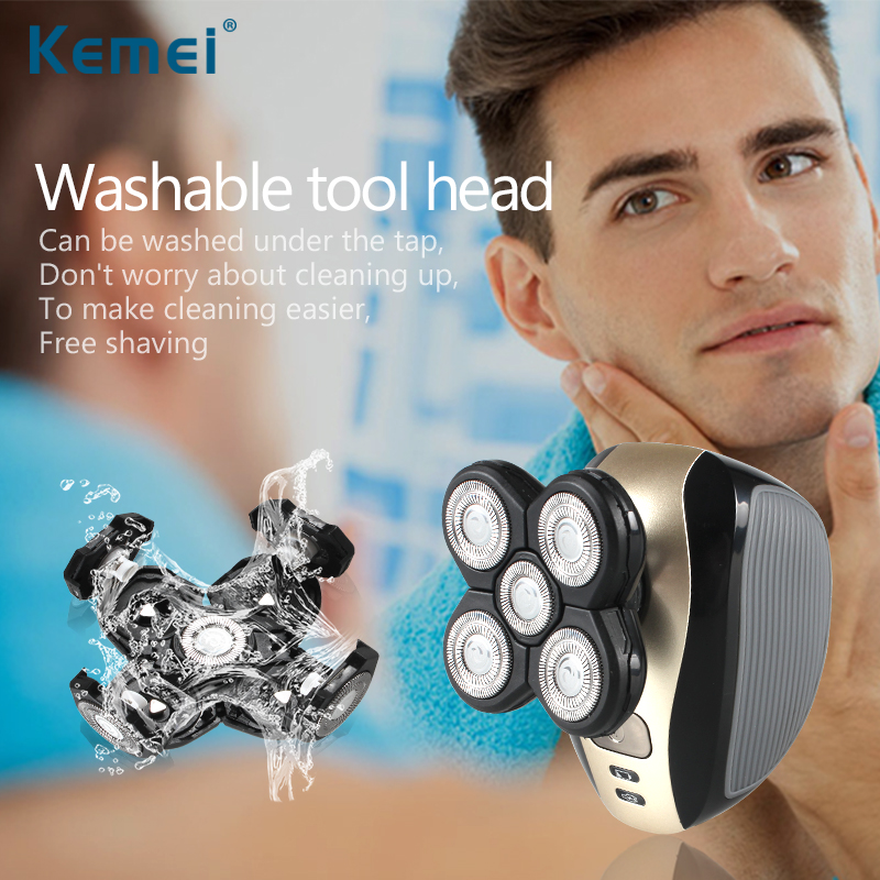 Kemei Electric Shaver 5 Blade Heads Electric Shaving Rechargeable Razors Multi Function 5 In 1 Men Face Care Washable KM-1000