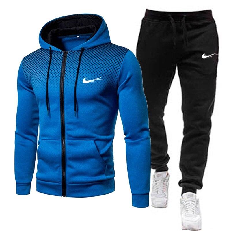 Men's casual hooded set 2021 new spring set zipper hooded jacket + pants sportswear men's sportswear brand clothing two-piece su