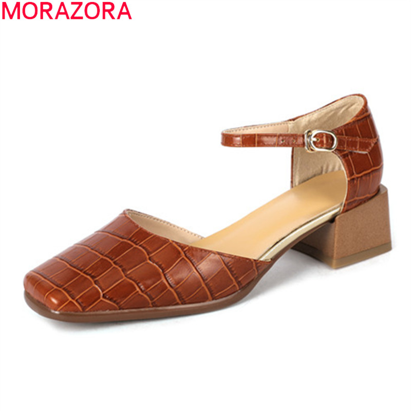 MORAZORA 2020 Summer New Arrival Women Pumps Fashion Ankle Strap Ladies Shoes Genuine Leather Sweet Casual Shoes Black Brown