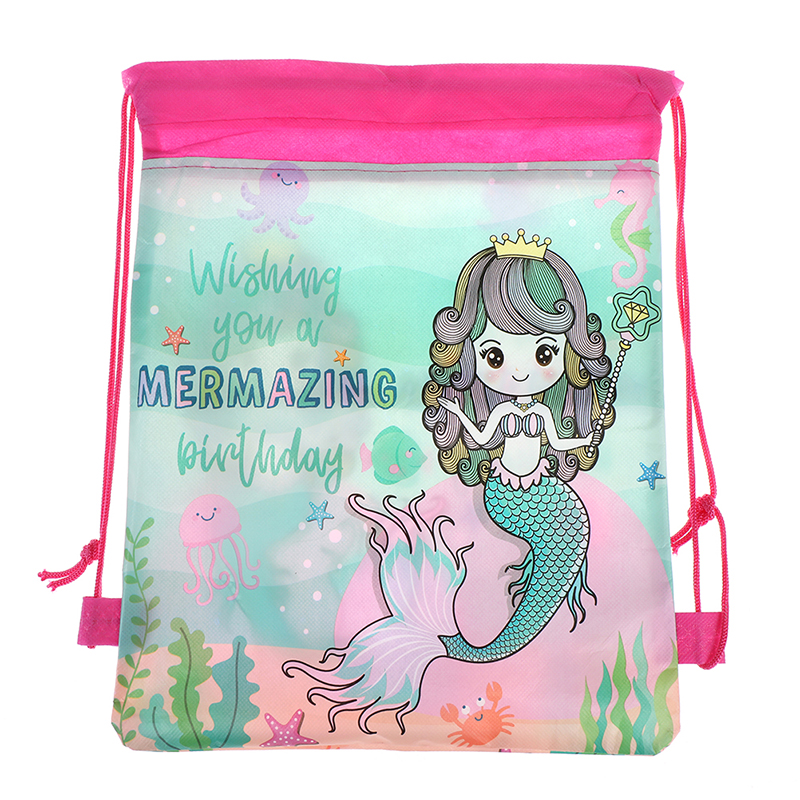 Mermaid Backpack Kids Travel School Decor Drawstring  Non-woven Bag Gift Bags