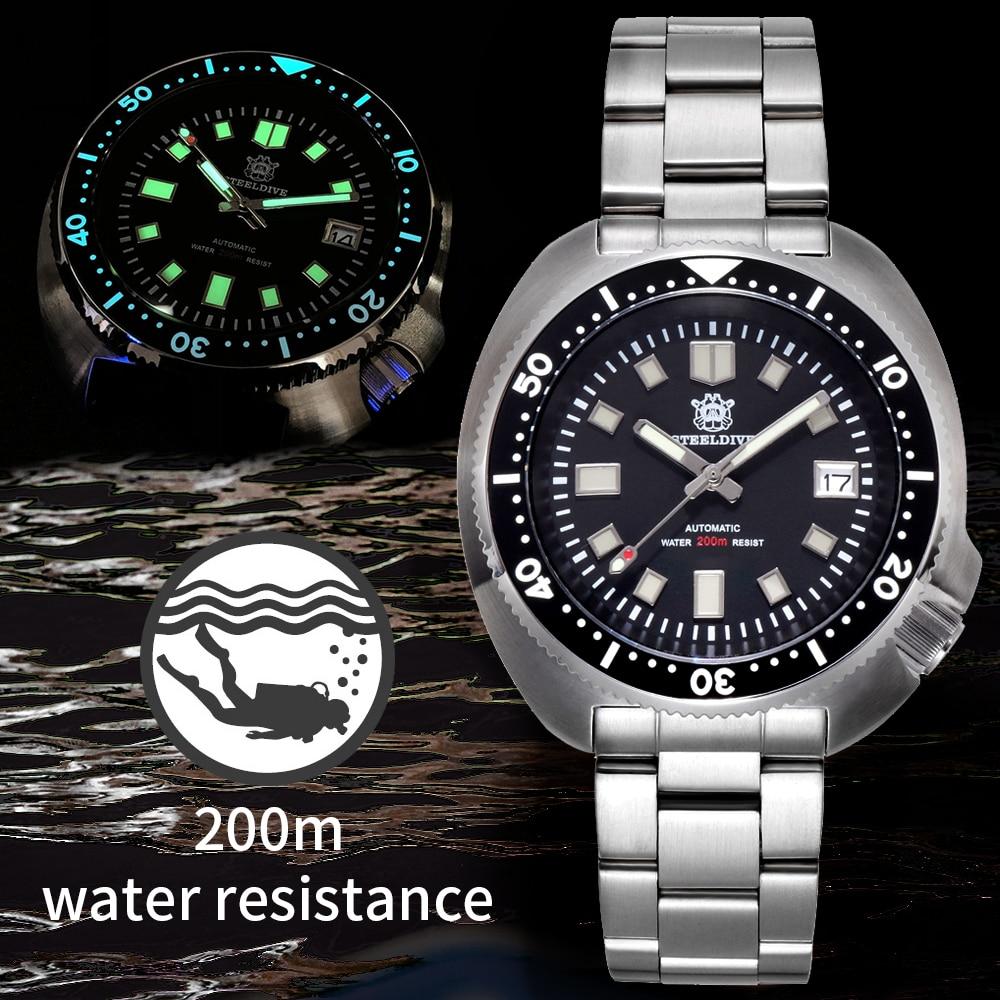 STEELDIVE Japan NH35 Diver Watch Men's C3 Luminous 200m Dive Watch mens mechanical watch Automatic Watches Men sbdx001 Diving(China)