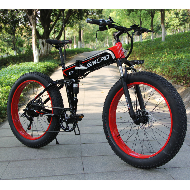 S11F 26'' folding e bike fat tire folding electric bike 48v 350w high speed electric folding bike 1