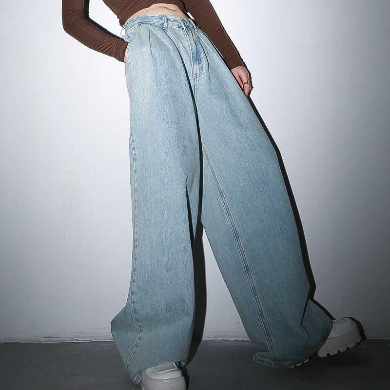 Twotwinstyle Pantalones De Mezclilla Casual Para Mujer Pantalones Largos De Cintura Alta Pantalones Anchos Con Pliegues Ropa De Moda Femenina Tendencia De Primavera 2020 Pantalones Vaqueros Aliexpress