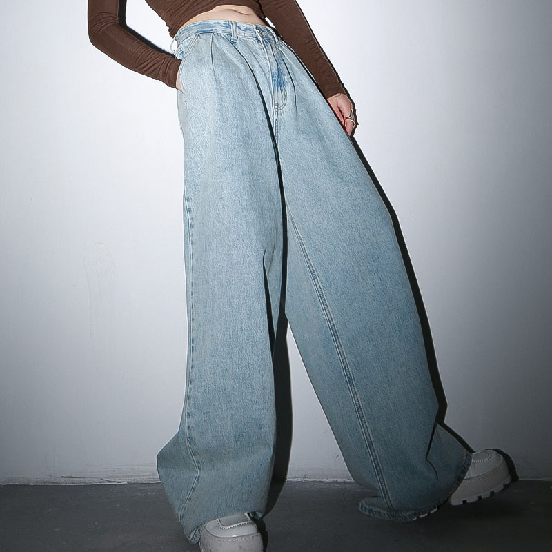 TWOTWINSTYLE Casual Denim Women Full Length Pant High Waist Loose Ruched Wide Leg Pants Female Fashion Clothing 2020 Spring Tide