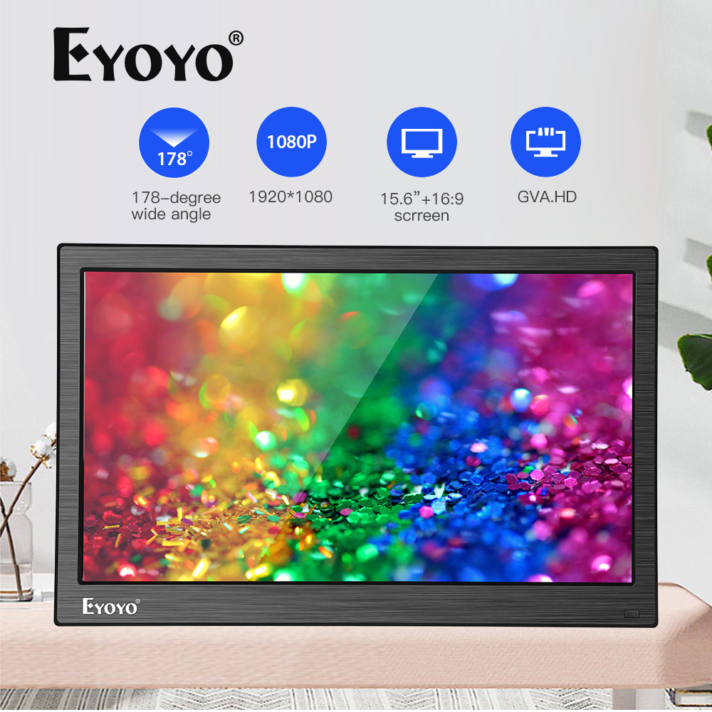 "Eyoyo EM15Y 15.6"" FHD 1920X1080 IPS BNC HDMI Computer Monitor PC LCD Screen Security Surveillance Display Moniteur With VGA AV"