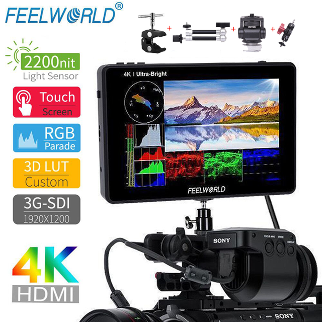 FEELWORLD LUT7S  7 Inch 4K Monitor 3D LUT Touch Screen Waveform 3G SDI DSLR Camera Field Monitor 1920X1200 for Canon Nikon Sony