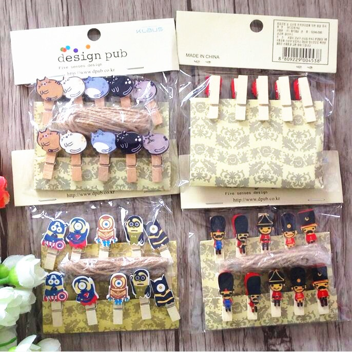 10pcs/Lot Cute Cartoon Animals Wooden Clips With Hemp Rope Memo Paper Clips Stationery Clothespin Craft Clips Pegs