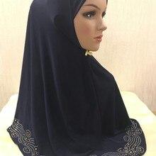 Большой 70*70 см мусульманский ITY горячего тиснения Бисероплетение Один Кусок хиджаб оптом