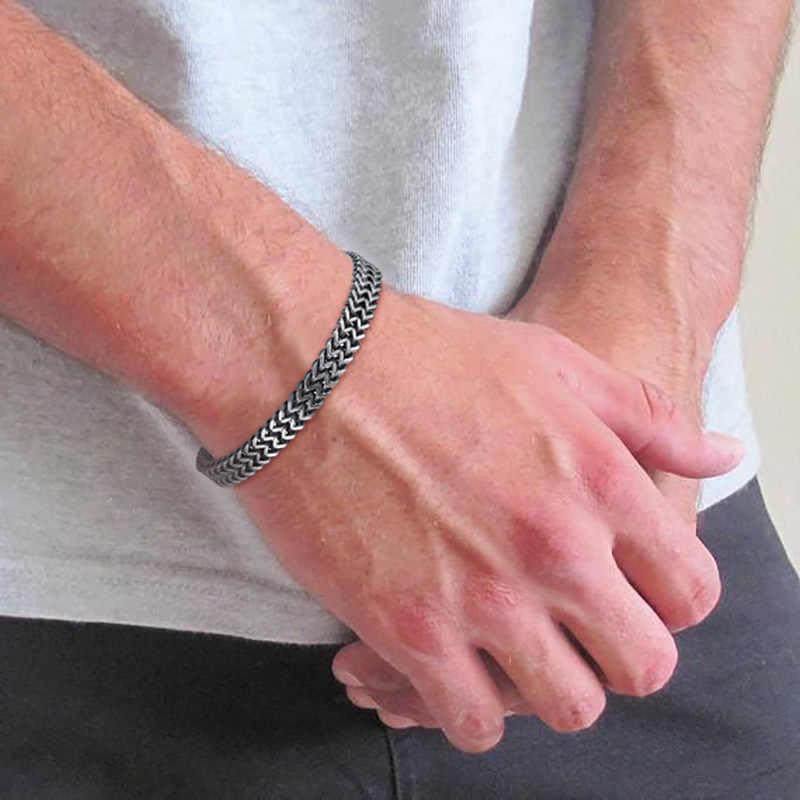 """Podwójna bransoletka z łańcuszkiem Foxtail Vantage srebrny bizantyjski ogniwo ze stali nierdzewnej mężczyzn bransoletka w 7.7 """"8.25"""" mąż tata prezent"""