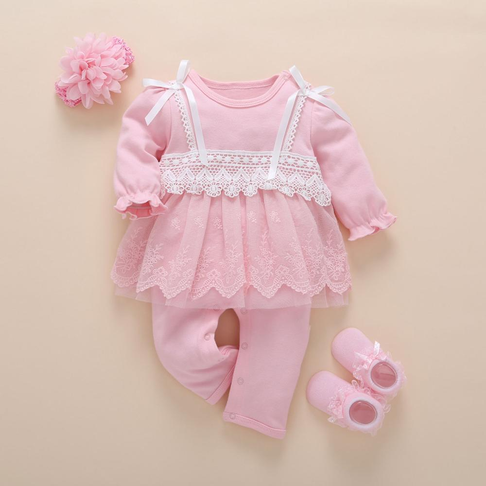 Image 2 - Newborn Baby Girl Clothes Fall Cotton Lace Princess Style Baby Jumpsuit 0 3 Months Infant Romper With Socks Headband ropa bebeRompers   -