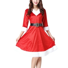 New Red Christmas Costume Girls Sexy COS Dress Performance Party Cotton Clothing Adult Costumes