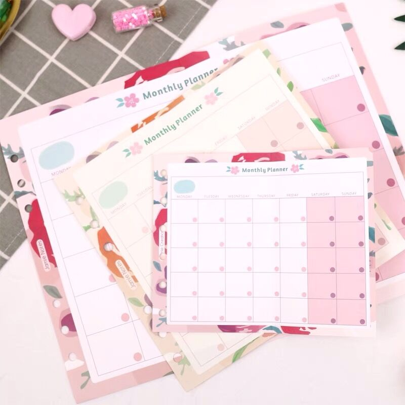2020 Sharkbang 20/40 Sheets Kawaii Floral A5 A6 Loose Leaf Notebook Refill Paper Weekly Monthly List Planner Agenda Stationery