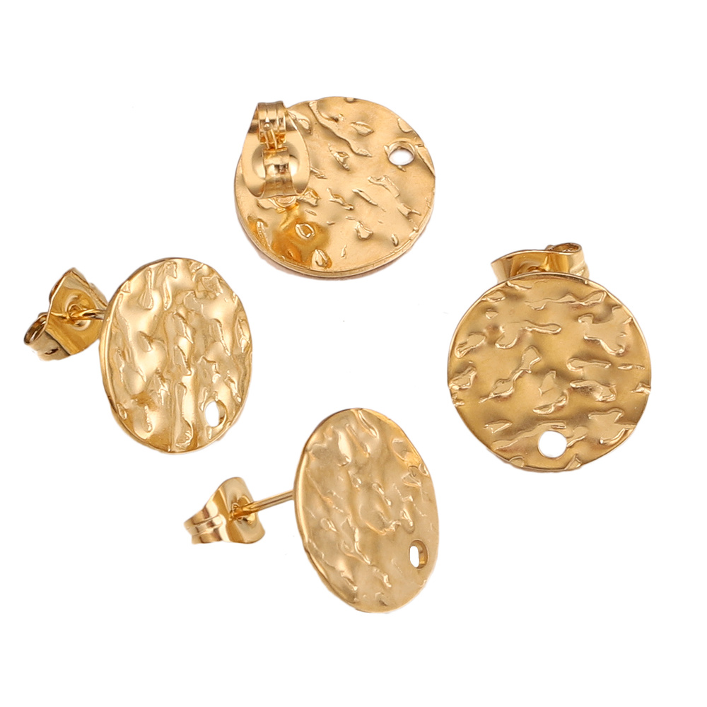 10PC Embossing Made Stainless Steel Round Stud Earring Posts with Hole Gold Tone DIY Earrings Jewelry Making Supplies Wholesale