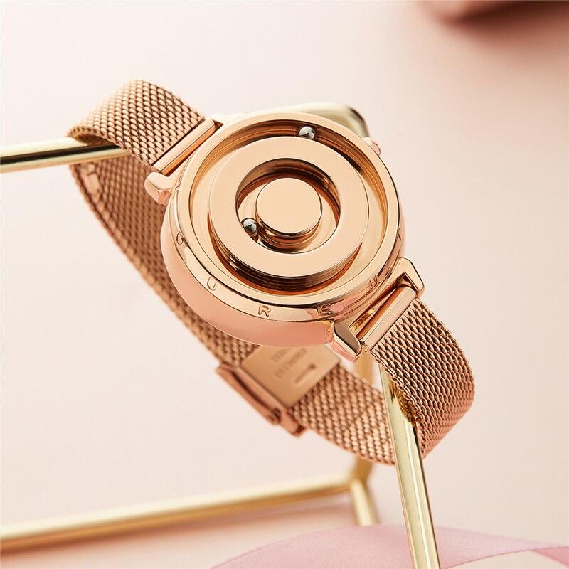 Eutour new original magnetic black gold trend women's watch female student quartz temperament fashion real belt stainless steel 1