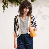 100% Silk Striped Blouse Women Shirt Simple Design Turn down Collar Long Sleeves Translucent Fabric Office Style New Fashion