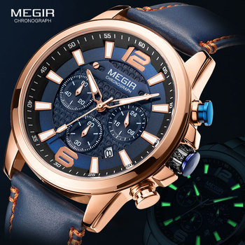 MEGIR Blue Watches Men Military Sport Chronograph Quartz Watch 2020 Luxury Brand Leather Band Waterproof Luminous Wristwatch Man luxury leather gift box pacific angel shark sport watch 24hrs chronograph luminous steel water resistant men watches sh315 319