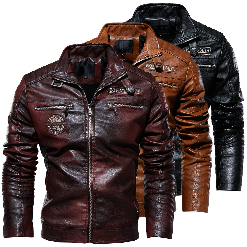Men High Quality Fashion Coat Leather Jacket Motorcycle Style Male Business Casual Jackets For Men Black Warm Overcoat