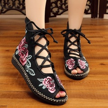 2020 spring summer new old Beijing cloth shoes embroidered flat open toe fish mouth single shoes casual shoes women's sandals old beijing cloth shoes stripe shallow mouth new style women flats shoes