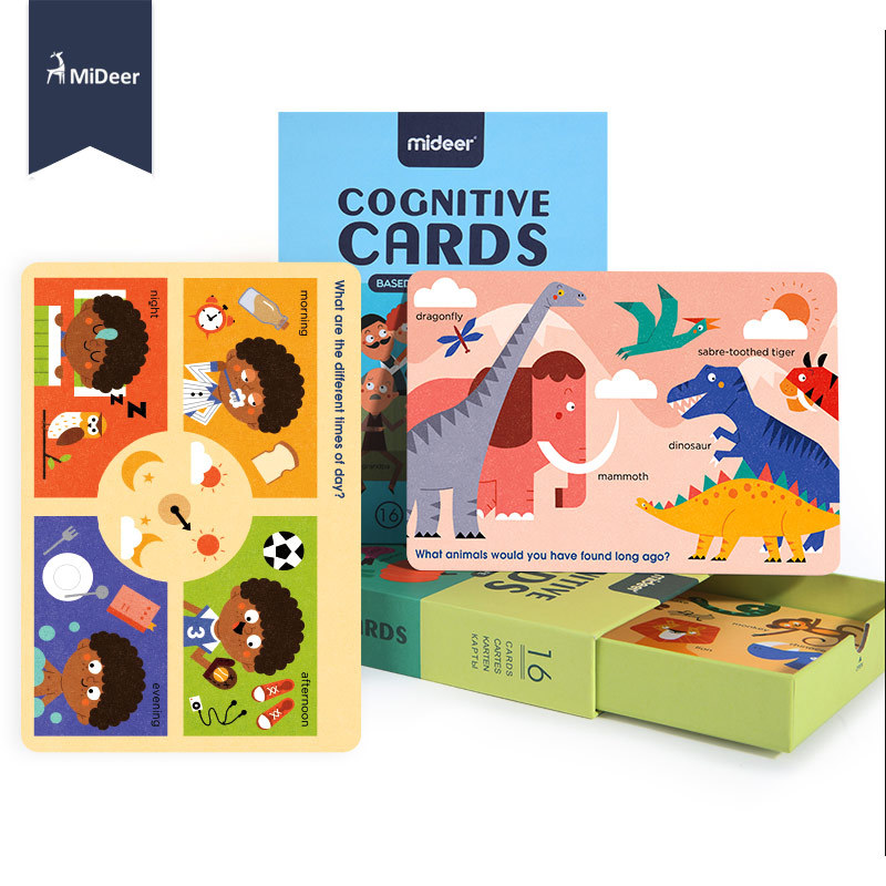 16Pcs/Set Recognition Color Shape Animal Teaching Card Early Learning Cognitive Flash Puzzle Game Educational Toys For Children