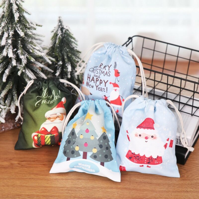1pcs Lovely Christmas Candy Bags Gift Candy Canvas Santa Sack Drawstring Bags Xmas Decoration Happy New Year Candy Bags