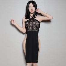 Женское кружевное платье без рукавов черное Белое Прозрачное