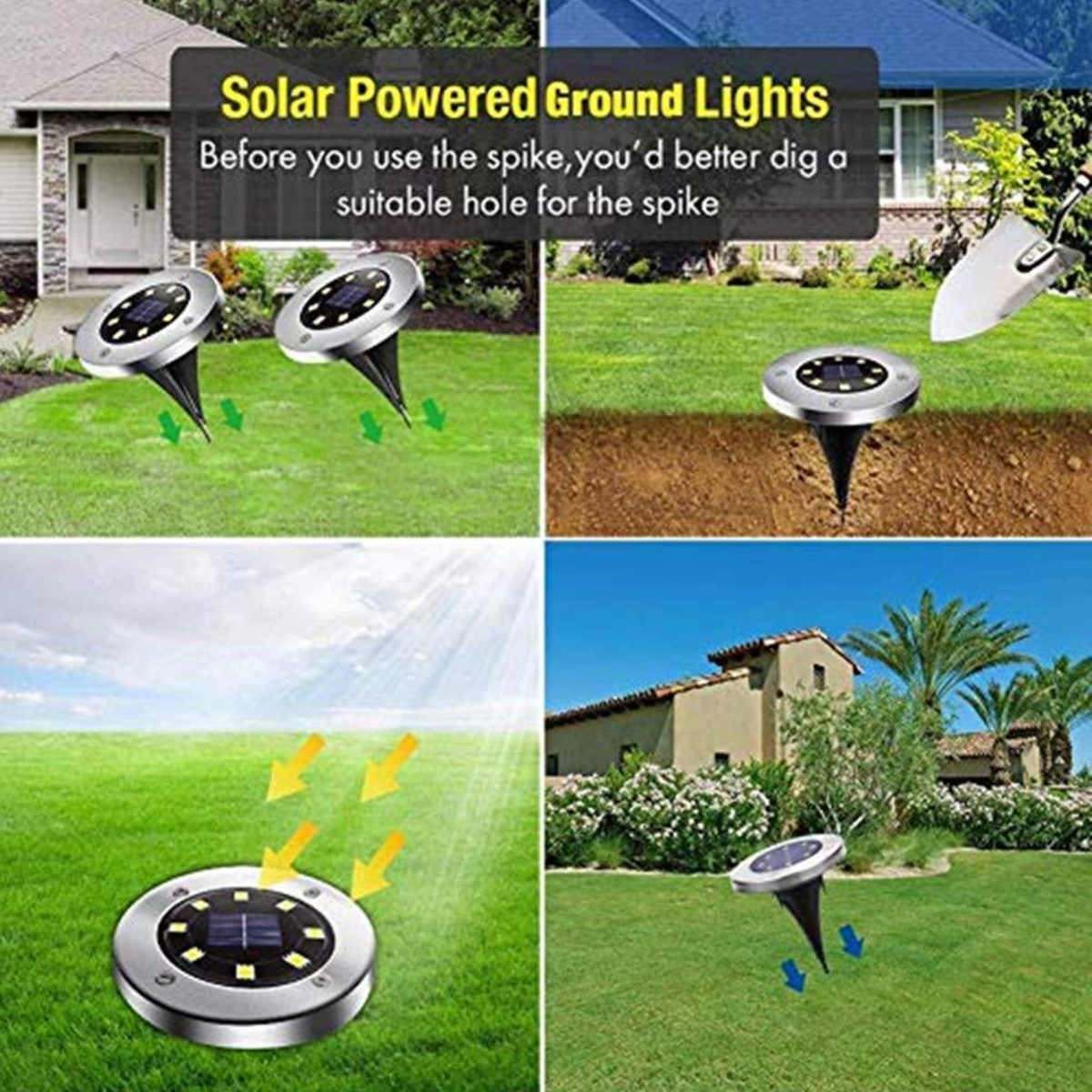 4Pcs Waterproof 8/12/16 LED Solar Underground Lights Stainless Steel Solar Buried Floor Light Garden Path Lawn Ground Lights