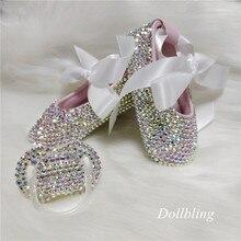 Bowknot personalizado brilho bling cristais strass bebê meninas sapatos infantil 0-1y fita princesa sapatos primeiros caminhantes hairband