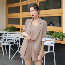 Vogue 3 piece Pants Suits Office Lady Work Sets Strap Vest+Blazer Jacket+Short Pants Loose Casual Women Sets 2020 Summer Spring