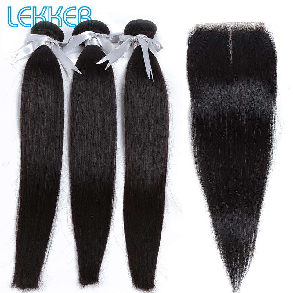 Lekker Straight Hair Bundles With Closure Brazilian Hair Bundles 8inch To 30inch 3 Bundles With Closure Hair Extension Remy Hair