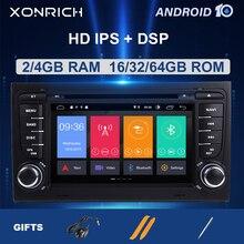 2 דין אנדרואיד 10 רכב רדיו מולטימדיה לאאודי A4 B6 B7 S4 B7 B6 RS4 B7 סיאט Exeo 2002 2008 GPS ניווט dvd נגן סטריאו DSP