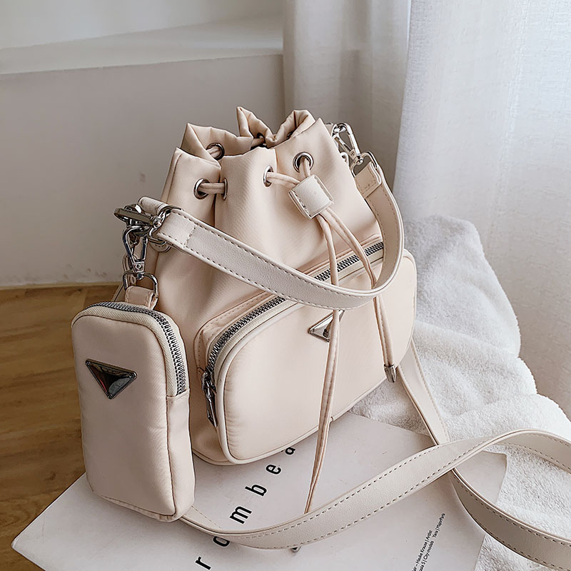 Fashion Bucket Shoulder Bag Women Drawstring Crossbody Bag Female Messenger Bags Ladies Nylon Handbag Sac