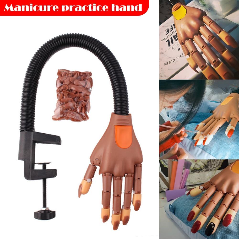 False Nail Art Practice Training Hand Finger Manicure Display Tips Professional Salon Hand Model Bendable Finger