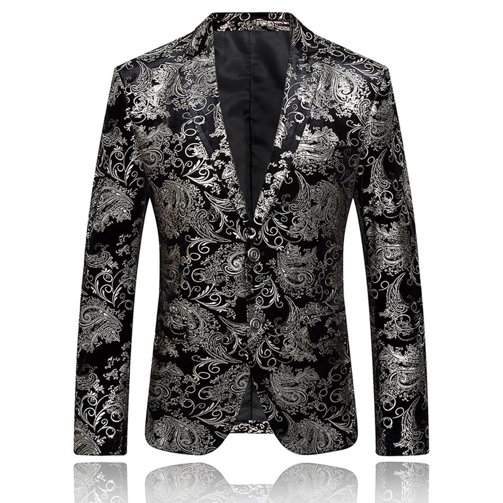 Jacket Men Suit Coat Notched Stylish Blazer Men's Masculino Button Dress Feitong Slim-Fit