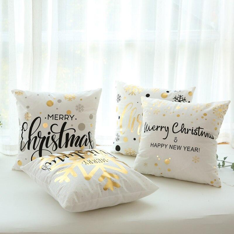 45x45cm Peach Skin Flannel Merry Christmas Cover Cushion Christmas Decor for Home Happy New Year Decor 2019 Xmas Gift Pillowcase