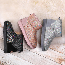 SP&CITY Shining Bling Winter Boots For Women Thick Short Snow Boots Waterproof Flat Bottom Non-slip Keep Warm Shoes Woman Boots