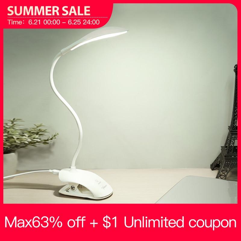YAGE Lámpara de escritorio de YG 5933, lámpara de mesa led con USB, 14 LED, con Clip, para cama, lectura, libro, táctil, 3 modos
