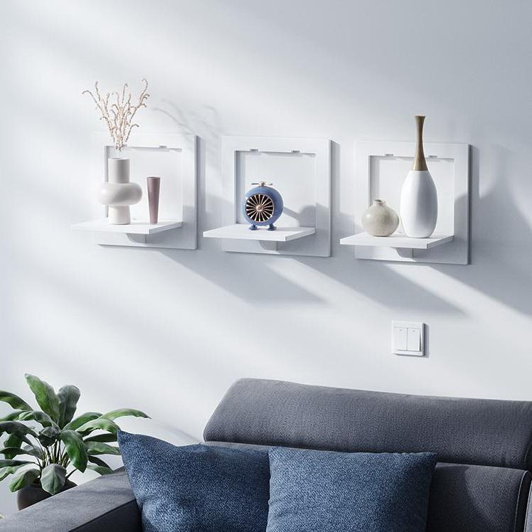 Wall shelf free punching wall-mounted TV background wall hanger bedroom balcony bedside wall creative flower pot stand