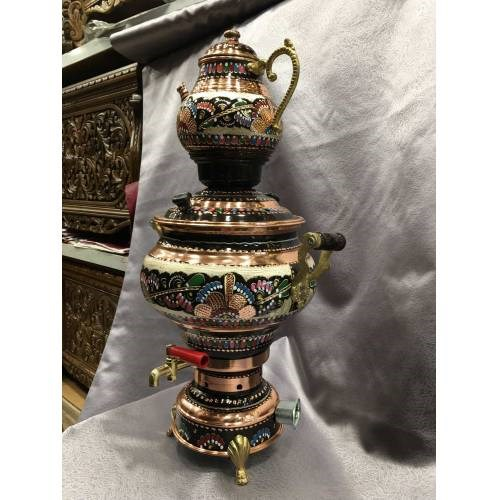 Electric Genuine Copper Hand Embroidered Samovar Tea Brewing Teapot Teapot Stainless Copper Nostalgia Precious Object Gift